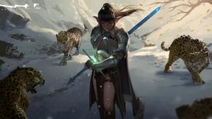 Elf Girl Leopard Sword Woman Warrior 3840x2009 Wallpaper