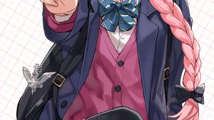 Fate Apocrypha FGO Fate Series Femboy School Uniform Peace Sign Cardigan Sitting Hair Bows Black Rib 1336x2454 Wallpaper