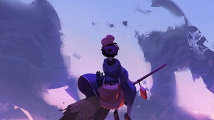 Kikis Delivery Service Sky Clouds Illustration Broom Witch Witches Broom Anime Girls Cityscape 1440x1801 wallpaper