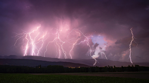 Landscape Lightning Storm Nature Hills Clouds Field 2560x1440 Wallpaper