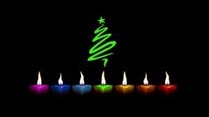 Candle Christmas Christmas Tree Colors Minimalist 1920x1280 Wallpaper