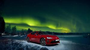 Aurora Borealis Car Night Red Car Sport Car Toyota Toyota 86 Vehicle 3600x2402 wallpaper