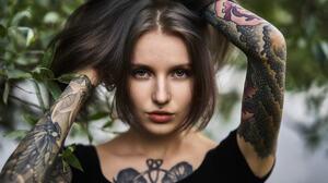 Women Face Portrait Tattoo Inked Girls Aliona German 2048x1366 wallpaper