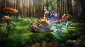 Fairy Mushroom Snail 1920x1080 wallpaper