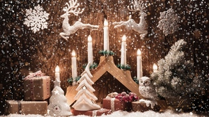Candle Christmas Decoration Gift Owl Reindeer Snow Snowflake Tree 1920x1200 Wallpaper