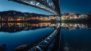 France Lyon Night Reflection Water 2048x1365 Wallpaper