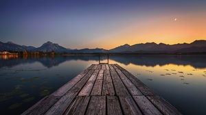 Timo Gebel Sunset Mountains Trees Water Pier Lily Pads Nature Outdoors Photography Ladder Reflection 6000x3851 Wallpaper