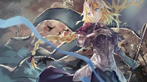 Jeanne DArc Fate Series Ruler Fate Grand Order Armor Girl Blonde Long Hair Braid Woman Warrior Blue  1920x1440 Wallpaper