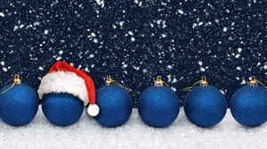 Bauble Christmas Ornaments Santa Hat Snowfall 8821x3479 Wallpaper