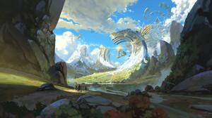 Sin Jong Hun Digital Art Fantasy Art Dragon Elune Surreal Clouds Rock Formation Mountains Snowy Moun 3840x2000 Wallpaper