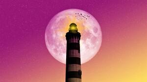 Bird Light Lighthouse Moon Stars 3840x2160 Wallpaper