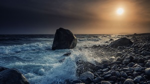 Coast Norway Sea Stone Sunset 5000x2807 wallpaper