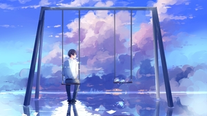 Boy Cloud Reflection Scenic Swing 3507x2080 Wallpaper