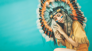 Asian Feather Girl Headdress Native American Woman 3977x2655 Wallpaper
