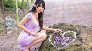 Asian Model Women Black Hair Long Hair Vicky Violet Dress Violet Heels Ponytail Stone Depth Of Field 2560x1706 Wallpaper