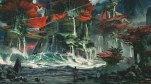 Digital Art Drawing Artwork Digital Jude Smith Sea Rocks Storm Waves Digital Painting 6243x2924 Wallpaper