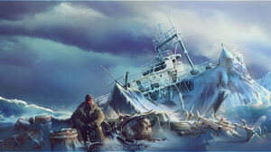 Mark Makovey ArtStation Artwork Men Wreck Arctic Dog Ship 2000x828 Wallpaper