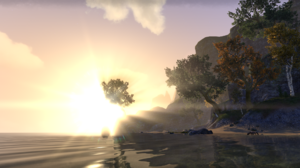 The Elder Scrolls Online Landscape Trees Water Sky Clouds Mountains 2752x1152 Wallpaper