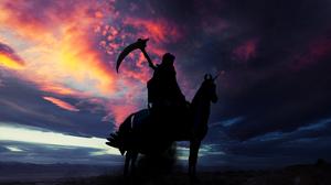 Death Unicorn Silhouette Backlight Landscape Contrast Ride Scythe 1920x1080 Wallpaper