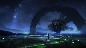 Fireflies Children Trees Digital Art Photoshop T1na 2560x1440 Wallpaper
