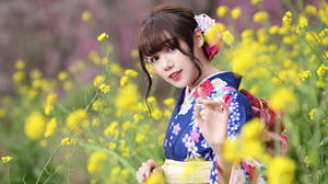 Asian Model Women Long Hair Brunette Traditional Clothing Hair Ornament Flowers Field Depth Of Field 1920x1279 Wallpaper