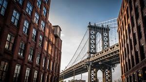 Bridge Cityscape New York City USA Manhattan Bridge Sun Rays Old Building Window 2560x1700 Wallpaper
