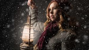 Girl Green Eyes Hat Lantern Model Night Redhead Scarf Snowfall Winter Woman 3500x2333 Wallpaper