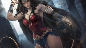 Wonder Woman Women Digital Art Comics Justice League Shield Warrior Whips DC Comics Dceu Brunette Mo 4126x2823 Wallpaper