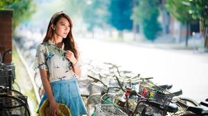 Asian Model Women Long Hair Brunette Blouse Skirt Bicycle Straw Hat Hairband Depth Of Field Trees St 2048x1366 Wallpaper