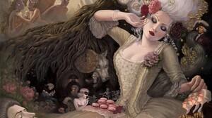 Artistic Fantasy Lipstick People Renaissance White Hair Woman 2002x1248 Wallpaper