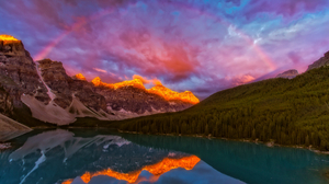 Alberta Canada Forest Lake Landscape Mountain Rainbow Sunset 3000x1907 Wallpaper