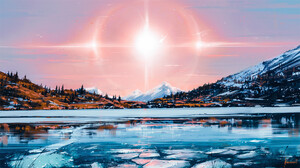 Artistic Lake Landscape Mountain Snow Sun Sunshine 1920x1080 Wallpaper