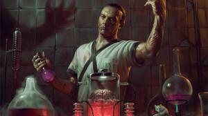 Flavio Greco Paglia Men Alchemy Bottles Creature Laboratories Brain Scientists Skull 1100x1571 Wallpaper