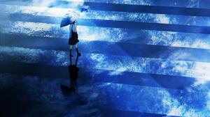 Anime Anime Girls HuashiJW Umbrella Reflection 2843x4096 wallpaper