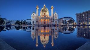 Architecture Austria Karlskirche Night Reflection Vienna 2048x1310 Wallpaper