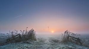 Nature Winter Cold Sunlight Outdoors Field Windmill Frost 2500x1595 Wallpaper