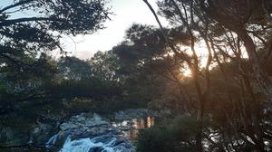 Nature Waterfall Trees River Sunset 4608x2128 Wallpaper