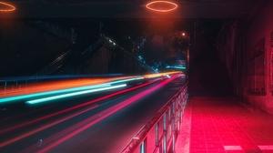 Neon Neon Lights Colorful Night Black Background Urban Cityscape City Street 5120x2880 Wallpaper