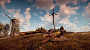 Horizon Zero Dawn Horizon Zero Dawn Rust Tank Machine Wreck Moss Wind Turbine 3840x2160 Wallpaper