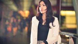 Asian Brunette Women Model Sunglasses Looking Away Depth Of Field Railings 3840x2563 Wallpaper
