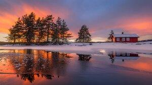 Lake Ice Tree Snow House Sunset 2048x1363 Wallpaper