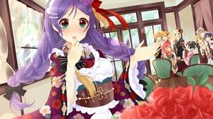 Anime Digital Art Artwork Illustration Anime Girls Maid Maid Outfit Cafe Window Purple Hair Blond Ha 2500x1776 Wallpaper