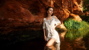 Women Model Brunette Dress Wet Hair In Water Outdoors Women Outdoors Maxim Gustarev 2560x1707 wallpaper