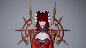 Asian Red The Elder Scrolls V Skyrim Priestess Inquisitor Fantasy Girl Video Games CGi 3840x2160 Wallpaper