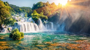 Waterfall Landscape Nature Croatia Sun Sky Trees Forest Water River Sunlight Plitvice Lakes National 7857x5000 Wallpaper