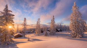 Cabin House Snow Village Winter 2048x1363 Wallpaper