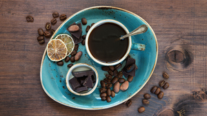 Coffee Still Life Chocolate Coffee Beans Cup 5909x3544 Wallpaper