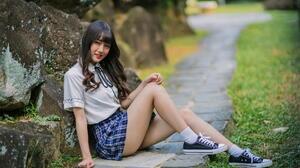 Asian Model Women Long Hair Dark Hair Skirt White Blouse School Uniform Sneakers White Socks Sitting 1920x1280 Wallpaper