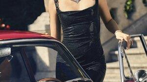 Ana De Armas Brunette Actress Red Cars Classic Car Women 1440x2160 wallpaper