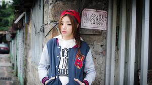 Brunette Women Asian Jacket Sports Cap Braided Hair Street Women Outdoors Looking At Viewer 2048x1367 Wallpaper